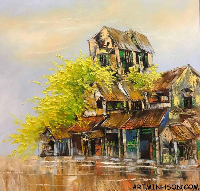 Tranh sơn dầu phong cảnh - Buổi sáng Hà Nội - Họa sĩ Nguyễn Minh Sơn