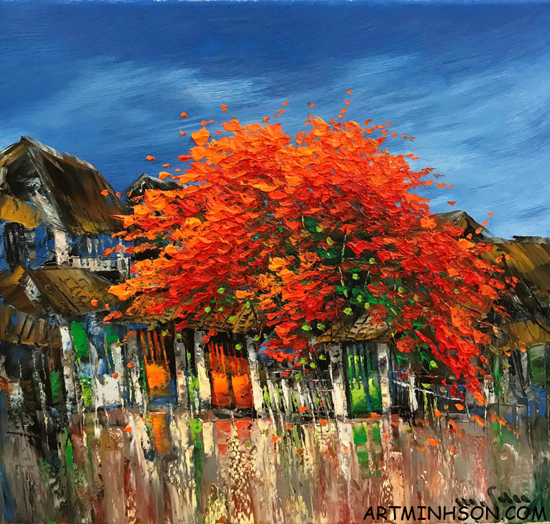 Oil painting landscape - red leaf - Nguyen Minh Son Artist