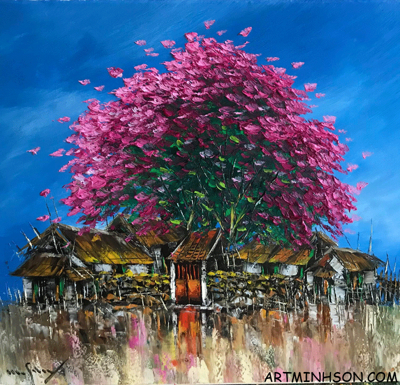 Oil painting landscape - a corner of the homeland - Nguyen Minh Son Artist