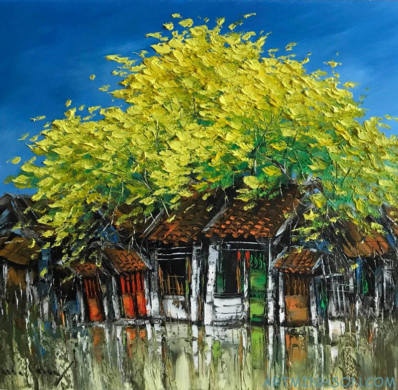 Oil painting landscape - old street corner - Nguyen Minh Son Artist